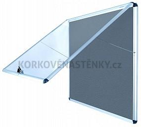 Nehorľavá textilná vitrína AL rám 706 x 653 mm (6xA4) - sivá