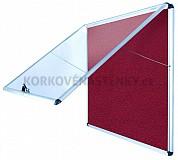 Nehorľavá textilná vitrína AL rám 924 x 953 mm (12xA4) - červená