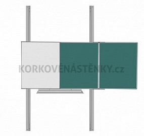Magnetická tabuľa TRIPTYCH K/PYLON AL I. 200 x 120 cm