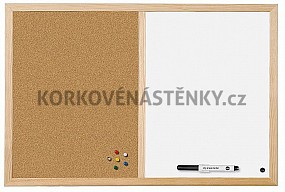 Kombinovaná nástěnka dřevěný rám 60 x 40 cm