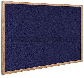 Textilní nástěnka dřevěný rám 150 x 100 cm (modrá)
