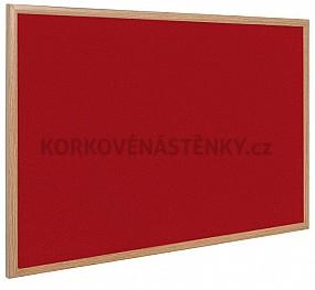 Textilní nástěnka dřevěný rám 125 x 100 cm (červená)