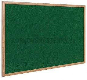 Textilní nástěnka dřevěný rám 150 x 100 cm (zelená)