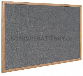 Textilní nástěnka dřěvěný rám 150 x 100 cm (šedá)
