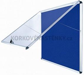 Nehořlavá textilní vitrína AL rám 924 x 953 mm (12xA4) - modrá