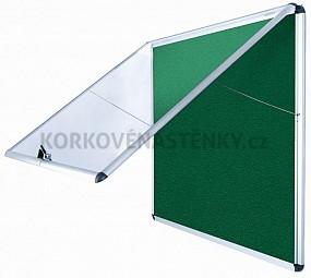 Nehorľavá textilná vitrína AL rám 924 x 953 mm (12xA4) - zelená