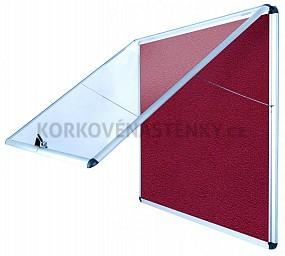 Nehořlavá textilní vitrína AL rám 706 x 653 mm (6xA4) - červená