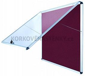 Nehořlavá textilní vitrína AL rám 706 x 653 mm (6xA4) - vínová