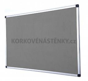 Nehořlavá textilní nástěnka AL rám 90 x 60 cm (šedá)