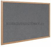 Textilná nástenka drevený rám 150 x 100 cm (sivá)