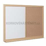 Kombinovaná nástěnka dřevěný rám 32 mm 120 x 90 cm