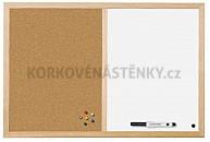 Kombinovaná nástěnka dřevěný rám 90 x 60 cm